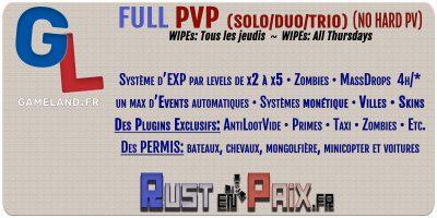 Le serveur PVP RUSTENPAIX/GAMELAND tire sa révérence