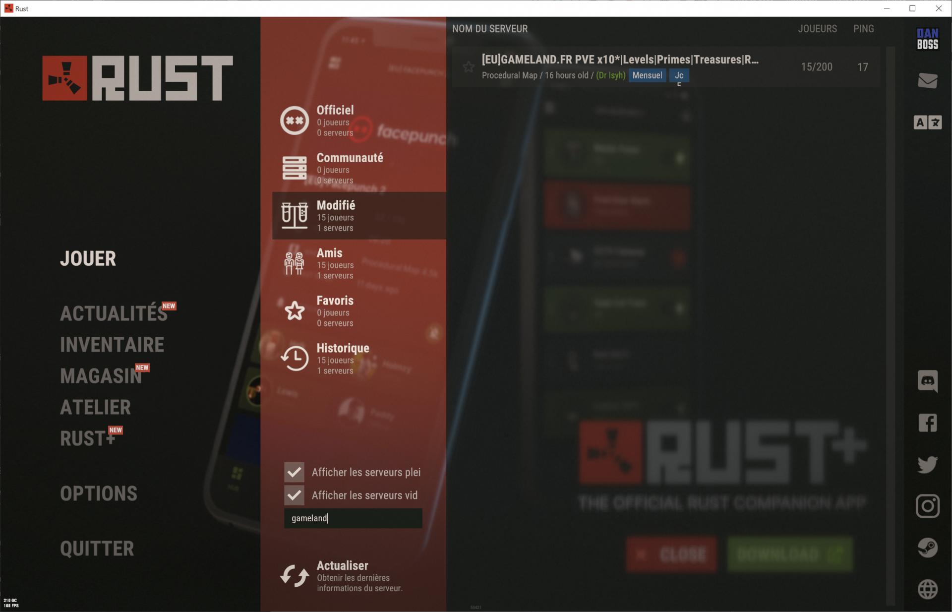 Capture connexion serveur Rust de GameLand